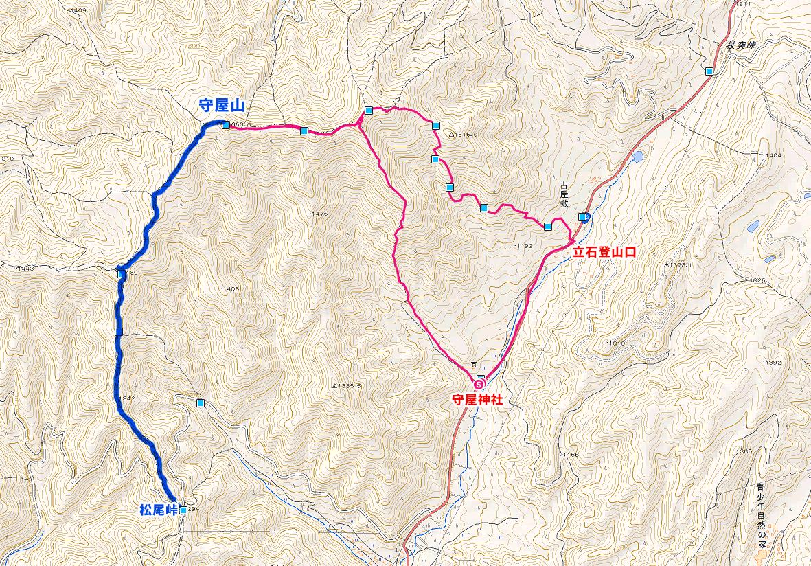 守屋山登山ルートマップ